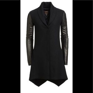 Danier leather Italian leather and wool  coat XS slight oversized fit